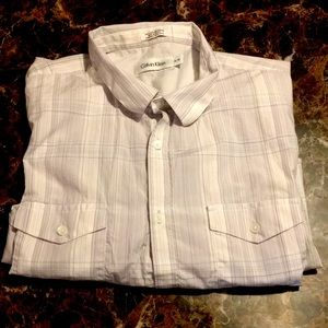 Calvin Klein Short Sleeve Button Dress Shirt Sz XL
